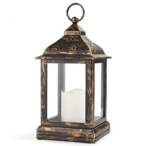 "Bright Zeal 10"" Decorative Lantern Led Candle – Bronze Lantern Pertaining To Outdoor Vintage Lanterns (View 2 of 15)"