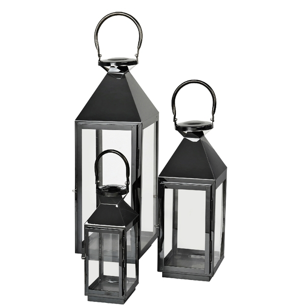 Broste Copenhagen Frit Outdoor And Indoor Lanterns – Black (Set Of 3 Regarding Set Of 3 Outdoor Lanterns (View 2 of 15)