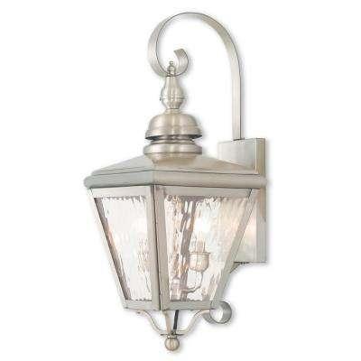 Brushed Nickel – Outdoor Wall Mounted Lighting – Outdoor Lighting With Nickel Outdoor Lanterns (View 9 of 15)