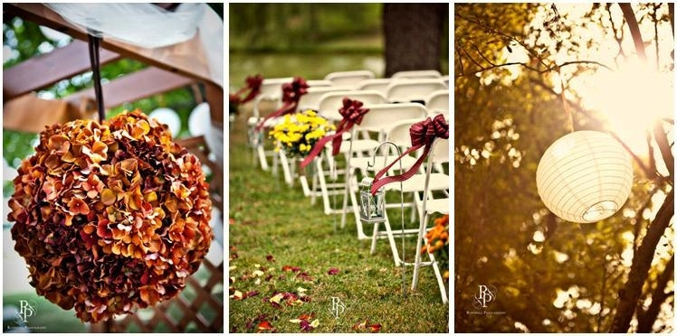 Burnt Orange, Yellow, And Burgundy Outdoor Wedding With Fall Flowers For Outdoor Orange Lanterns (View 12 of 15)