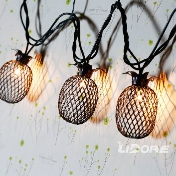 Buy Lidore Set Of 10 Metal Pineapple Shaped Lanterns String Lights With Regard To Outdoor Pineapple Lanterns (#4 of 15)