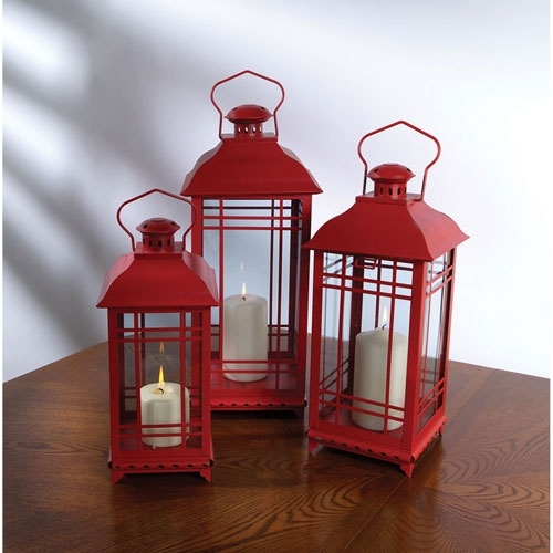Popular Photo of Red Outdoor Table Lanterns