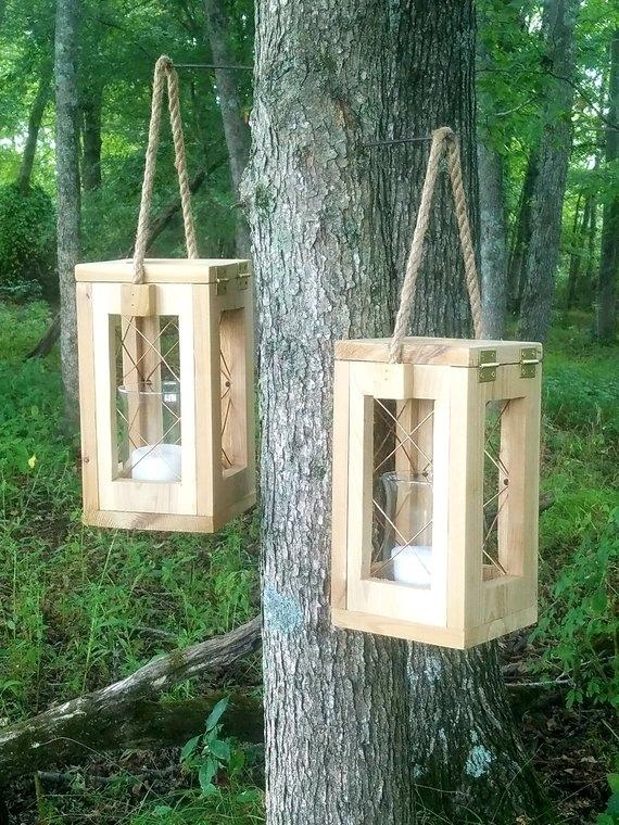 Cedar Candle Lanterns Indoor Lantern Outdoor Lantern | Etsy Intended For Etsy Outdoor Lanterns (#1 of 15)