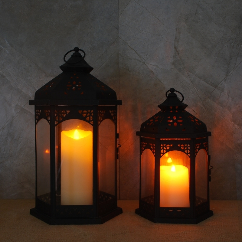 China Black Decorative Lantern With Led Candle Light For Home And For Outdoor Lanterns With Led Candles (View 2 of 15)