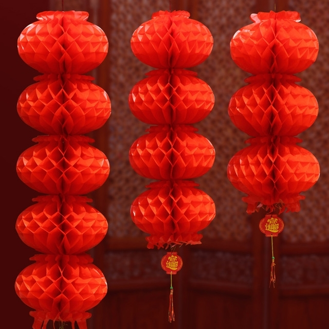 Chinese Wedding Decoration Red Honeycomb Plastic Paper Lanterns With Outdoor Plastic Lanterns (#3 of 15)