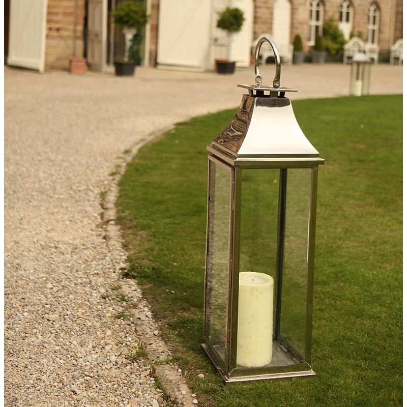 Classic Polished Chrome & Glass Lantern – Hire And Style | Hire And For Tall Outdoor Lanterns (View 6 of 15)