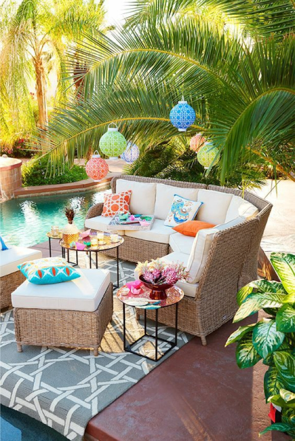 Colorful Lanterns, Tropical Plants, A Beautiful Pool, And Pretty Intended For Outdoor Tropical Lanterns (View 2 of 15)