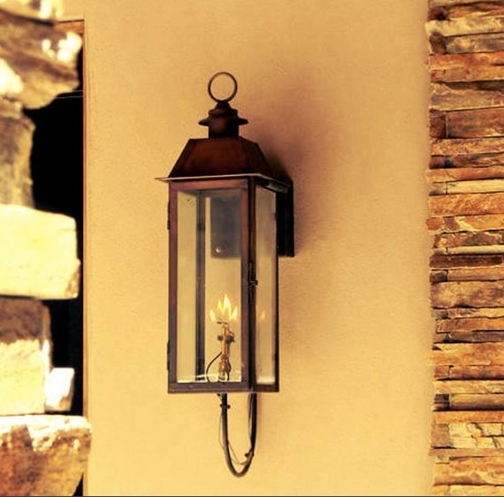 Copper Lantern Pendant Light Copper Light Fixture Rustic | Etsy For Etsy Outdoor Lanterns (View 8 of 15)