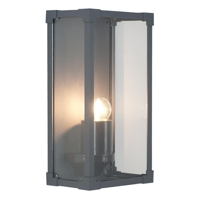 Inspiration about Dark Grey Metal Box Lantern Wall Light For Outdoor Grey Lanterns (#3 of 15)