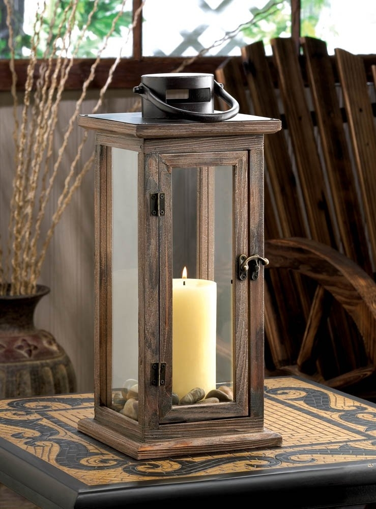 Decorative Candle Lanterns, Large Wood Rustic Outdoor Candle Lantern Inside Outdoor Decorative Lanterns (#5 of 15)