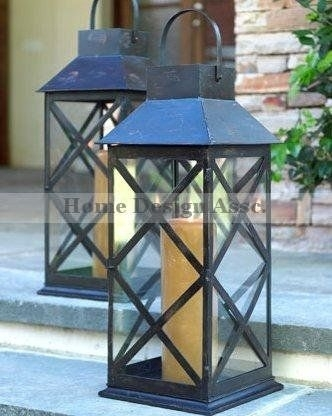 Decorative Candle Lanterns Large Wood Rustic Outdoor Candle Lantern Throughout Outdoor Lanterns And Candles (View 13 of 15)