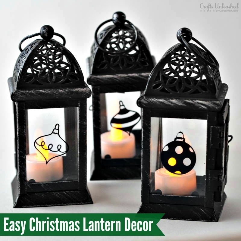 Diy Vinyl Decals For Pretty Christmas Lantern Decor | Holiday Throughout Outdoor Vinyl Lanterns (View 12 of 15)