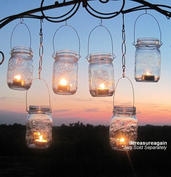 Diy Wedding Mason Jars Lanterns Hangers Diy Outdoor Party | Etsy In Etsy Outdoor Lanterns (View 2 of 15)