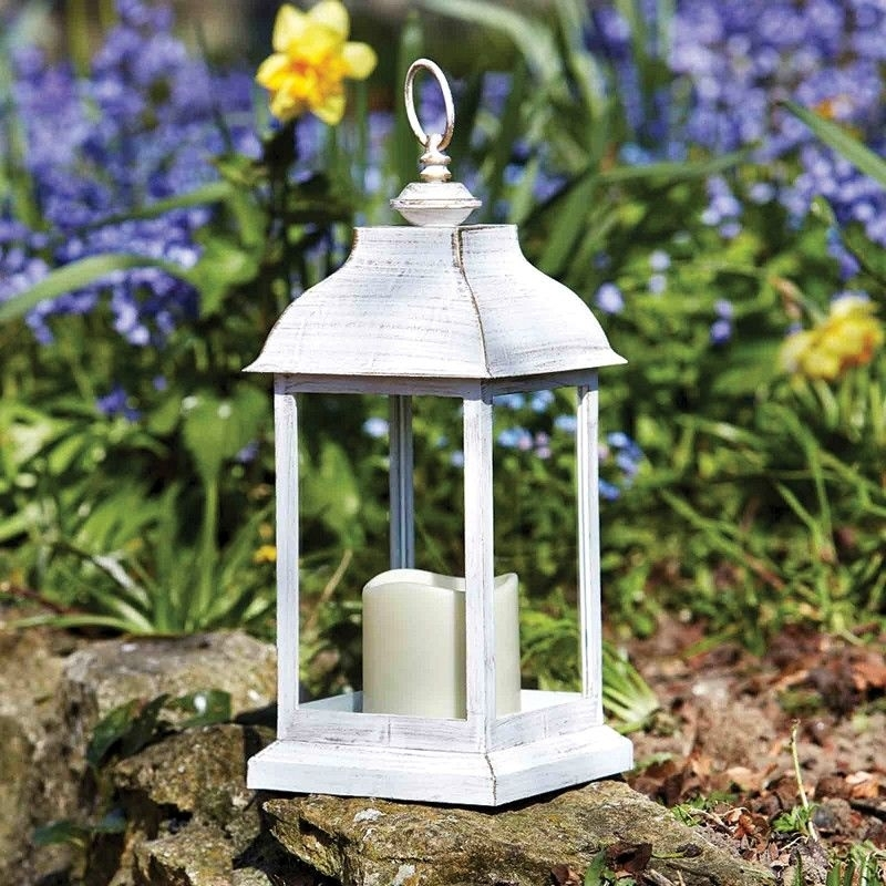 Inspiration about Dorset Outdoor Battery Operated Candle Lantern – Distressed White With Outdoor Lanterns With Battery Operated Candles (#8 of 15)