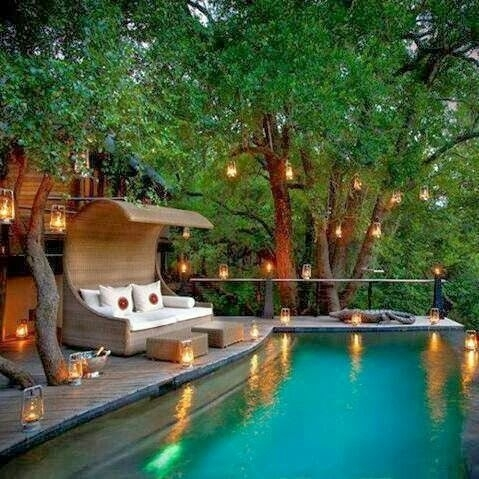 Dream Backyard | Patios | Pinterest | Backyard, Outdoor Spaces And Pertaining To Outdoor Pool Lanterns (View 8 of 15)