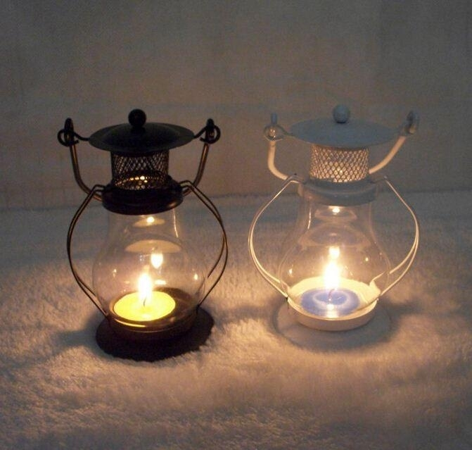 European Garden Glass Iron Lantern Candle Lantern Kerosene Lamp Home Pertaining To Decorative Outdoor Kerosene Lanterns (#7 of 15)