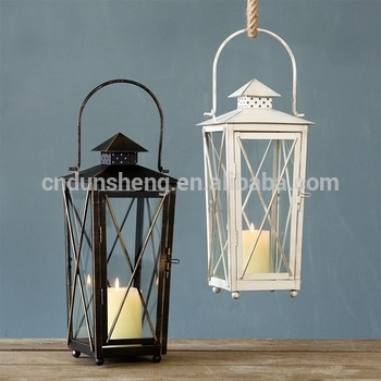 European Outdoor Vintage Courtyard Hanging Iron Hurricane Candle Intended For Outdoor Vintage Lanterns (View 4 of 15)