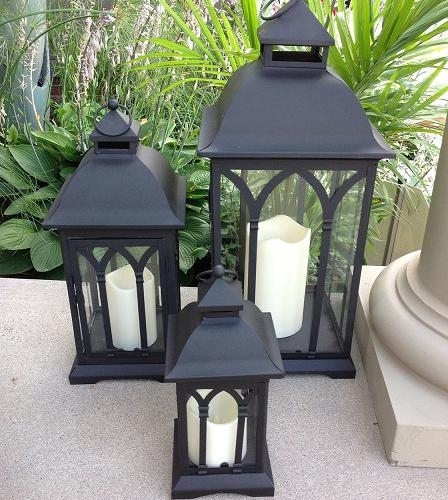 Inspiration about Exclusive Indoor Or Outdoor Set Of 3 Lombard Patio Lanterns Intended For Outdoor Metal Lanterns For Candles (#10 of 15)