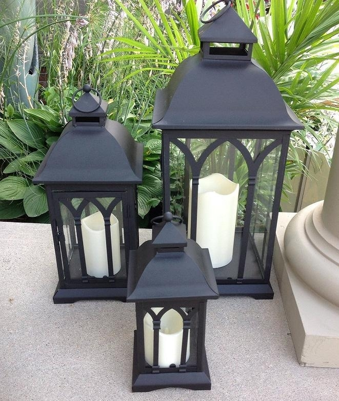 Exclusive Indoor Or Outdoor Set Of 3 Lombard Patio Lanterns Regarding Black Outdoor Lanterns (#11 of 15)