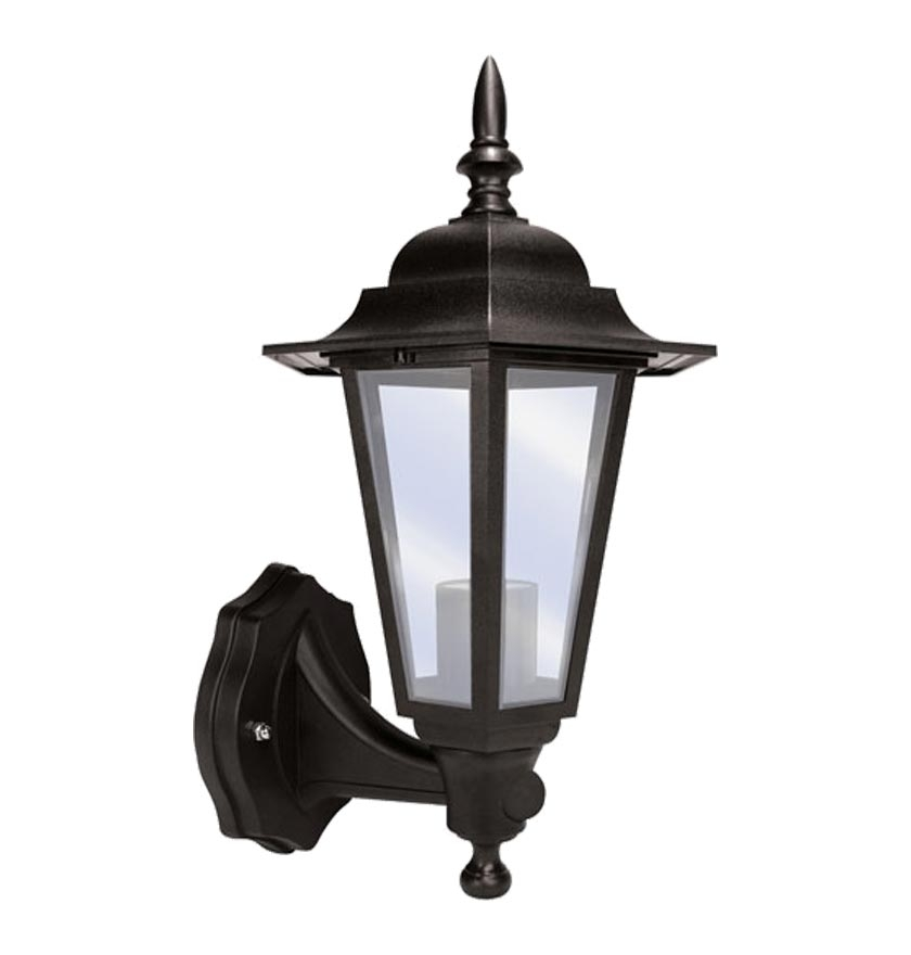 Exterior Lantern Black Polycarbonate Wall Light With Pir Sensor Es Within Outdoor Pir Lanterns (#4 of 15)