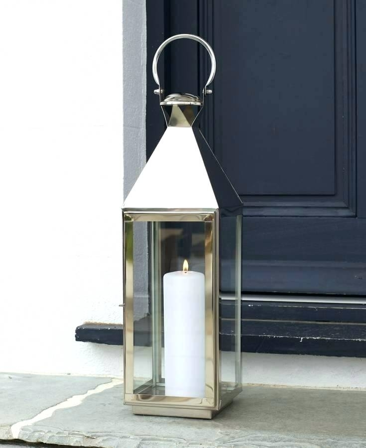 Extra Large Outdoor Candle Lanterns Tall Stainless Steel Garden Within Tall Outdoor Lanterns (View 9 of 15)