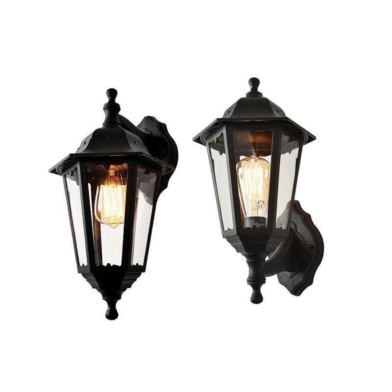 Forum Bianca Black Mains Outdoor Wall Vintage Lantern Up Down Light Inside Outdoor Mains Lanterns (#5 of 15)