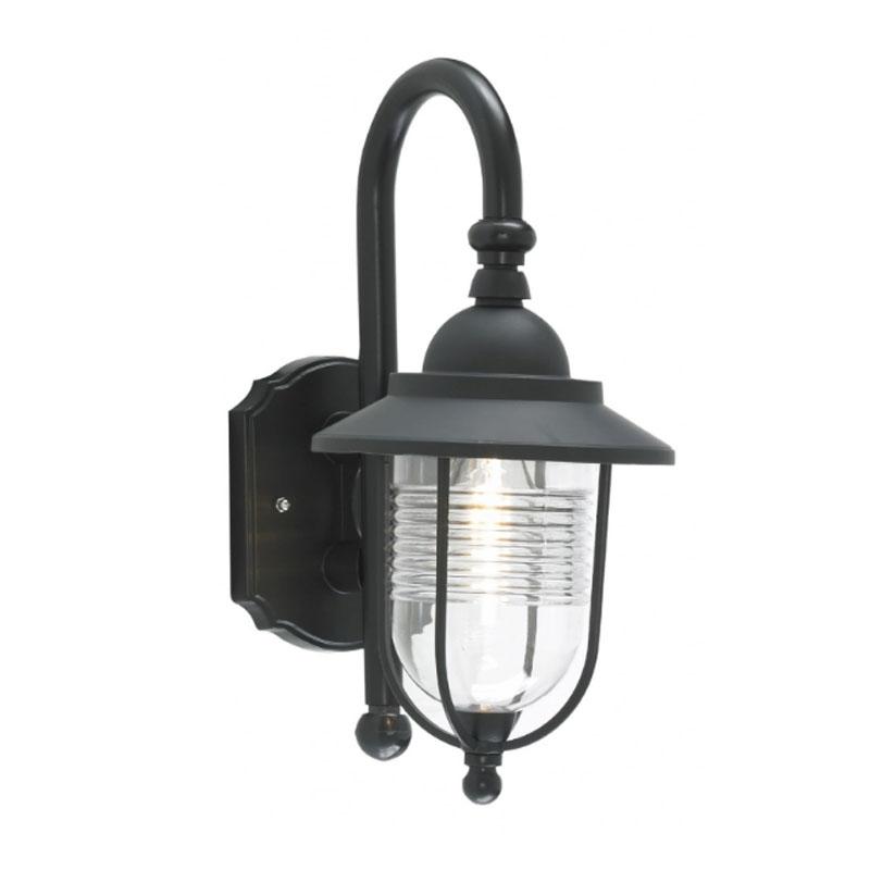 Forum Eris Black Fishermans Mains Outdoor Wall Lantern Light Pertaining To Outdoor Mains Lanterns (#6 of 15)