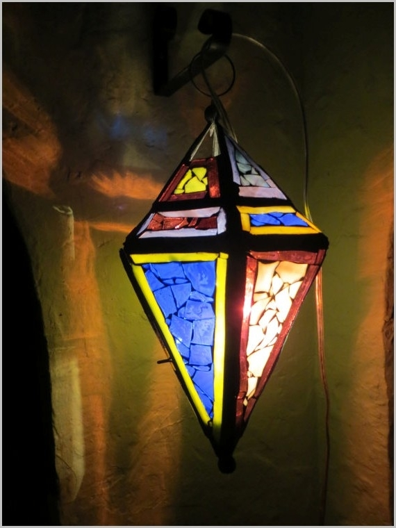Glass Outdoor Lighting » Lovely Hanging Stained Glass Mosaic Lantern With Regard To Outdoor Mosaic Lanterns (#3 of 15)