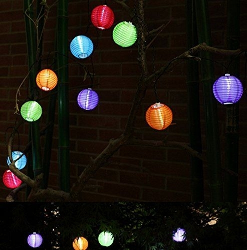 Inspiration about Gogos Solar String Lights Outdoor 16Ft 20 Led Warm White Fabric With Regard To Outdoor Ball Lanterns (#13 of 15)