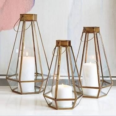 "Gold Faceted Lanterns  Available In Two Sizes Approx 10"" And 12 With Regard To Gold Outdoor Lanterns (#12 of 15)"