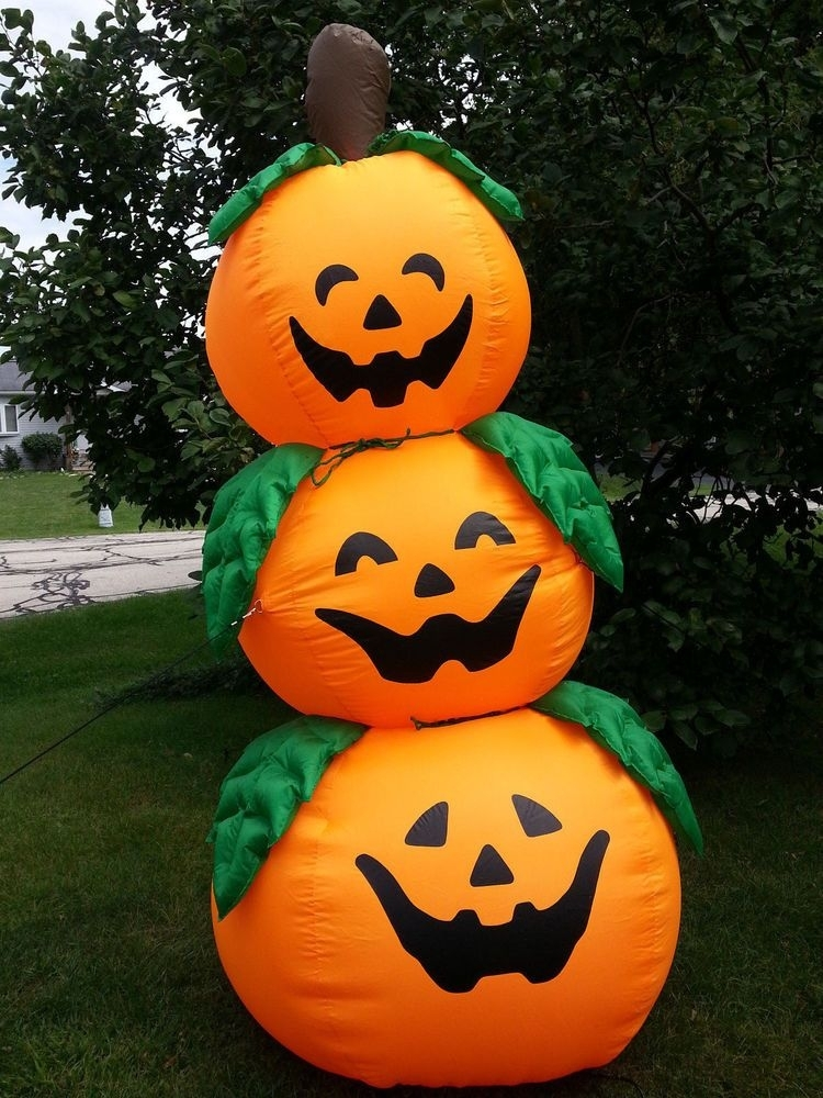 Halloween Inflatable 3 Jack O Lanterns Stack Tower 8ft (View 10 of 15)