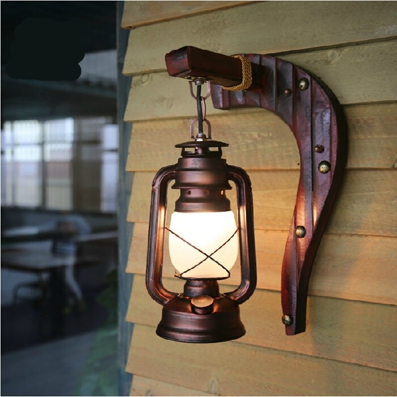 Hand Crafted Vintage Bamboo Iron Lantern Led E27 Wall Lamp Creative With Vintage Outdoor Lanterns (View 2 of 15)