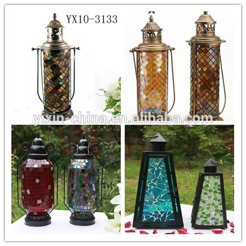 Handmade Glass Hanging Mosaic Outdoor Candle Lantern,wall Mosaic With Regard To Outdoor Metal Lanterns For Candles (View 15 of 15)