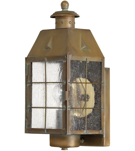 Hinkley 2370as Nantucket 1 Light 14 Inch Aged Brass Outdoor Wall Mount In Nantucket Outdoor Lanterns (View 7 of 15)