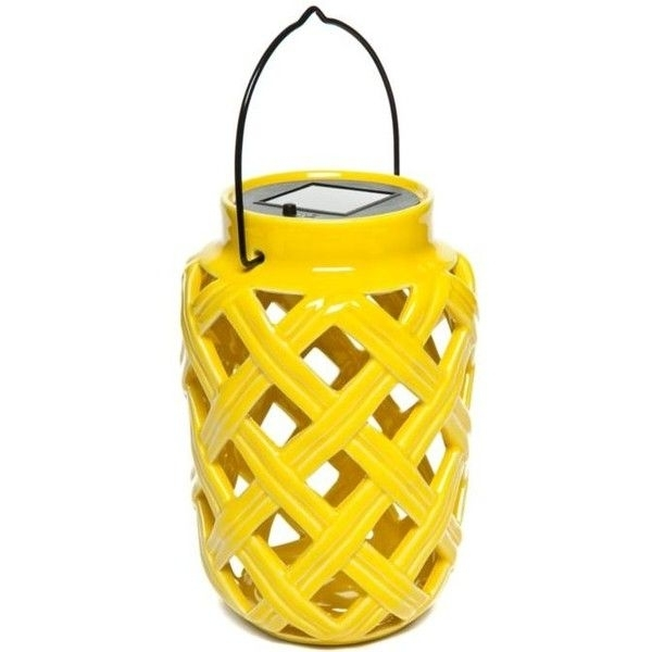 Home Accents Yellow Yellow Ceramic Solar Lantern ($25) ❤ Liked On With Yellow Outdoor Lanterns (#5 of 15)