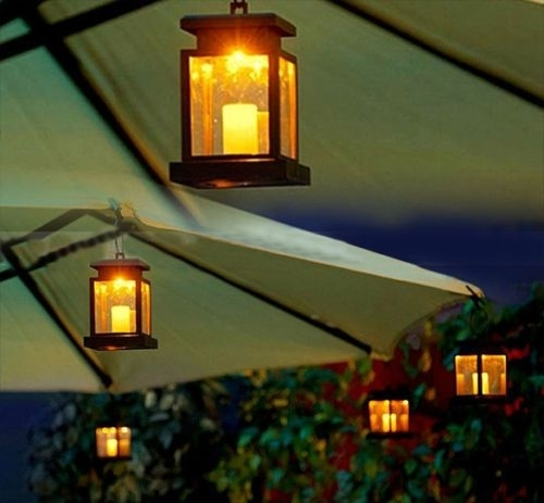 House Candle Lantern Solar Powered Led Light Garden Wall Umbrella For Outdoor Umbrella Lanterns (View 13 of 15)