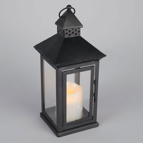 Inspiration about Illuminated Garden: Outdoor Black Metal Flameless Led Lantern – Timer Pertaining To Outdoor Lanterns With Battery Operated Candles (#1 of 15)