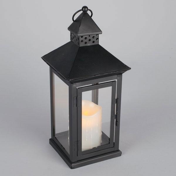 Illuminated Garden: Outdoor Black Metal Flameless Led Lantern – Timer Throughout Outdoor Candle Lanterns (View 6 of 15)