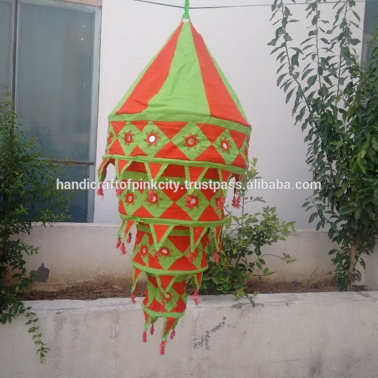 Inspiration about Indian Collapsible Cotton Fabric Lanterns Outdoor Lampshades Tassels Inside Outdoor Indian Lanterns (#11 of 15)