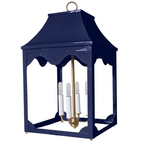 Lacquer Indoor/outdoor Lantern & Light Fixture – Navy Blue Pertaining To Blue Outdoor Lanterns (View 13 of 15)
