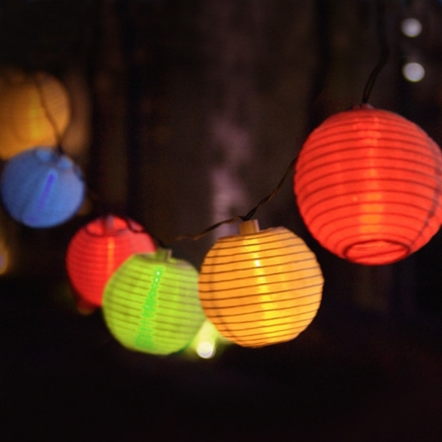 Lantern Ball Solar String Lights 30 Led Solar Lamp Outdoor Lighting Intended For Outdoor Ball Lanterns (View 4 of 15)