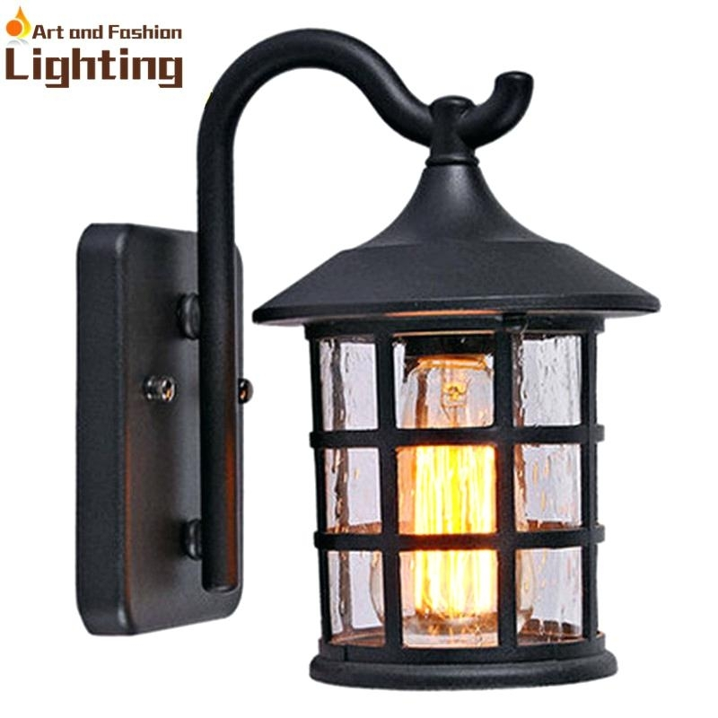 Lantern Wall Sconce Indoor Antique Rustic Iron Waterproof Outdoor Pertaining To Decorative Outdoor Kerosene Lanterns (View 12 of 15)