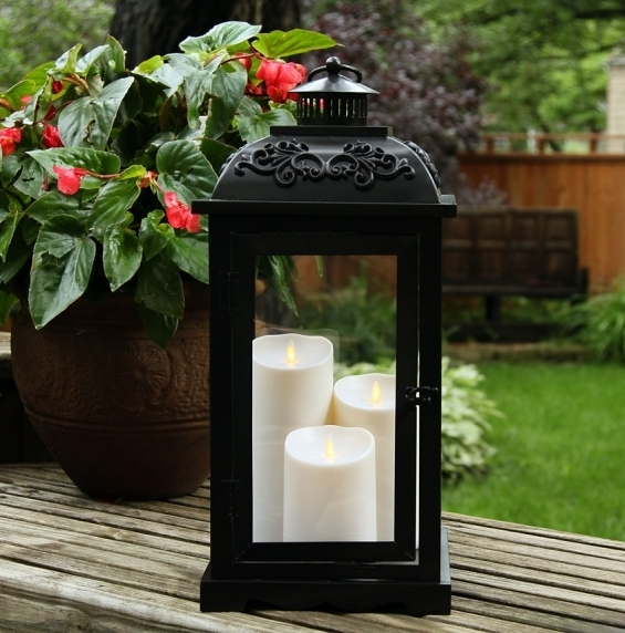 Large 21 Inch Luminara Lantern With 3 Moving Flame Pillars – Matte Intended For Outdoor Luminara Lanterns (#2 of 15)