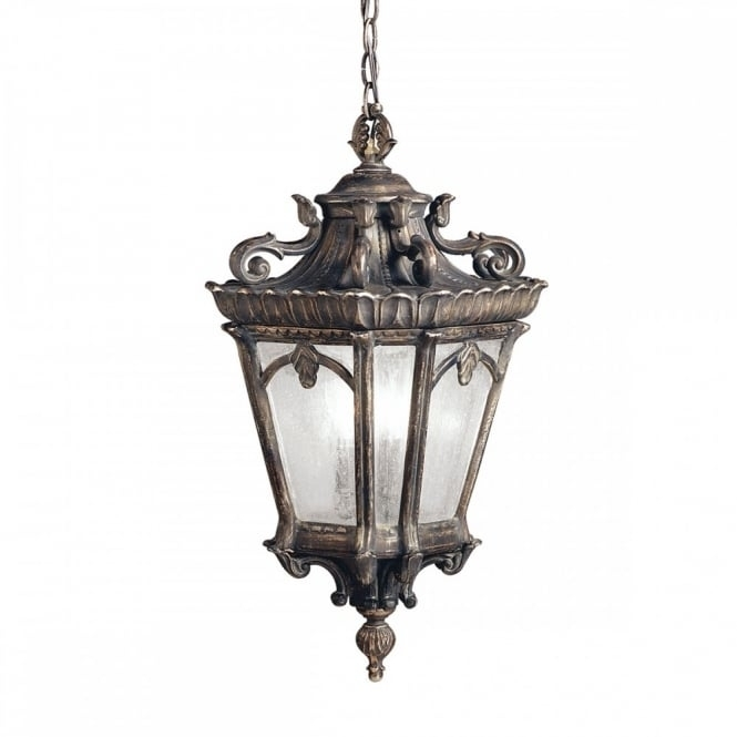 Large Gothic Outdoor Hanging Lantern In Matt Bronze With Seeded Glass Throughout Xl Outdoor Lanterns (#6 of 15)