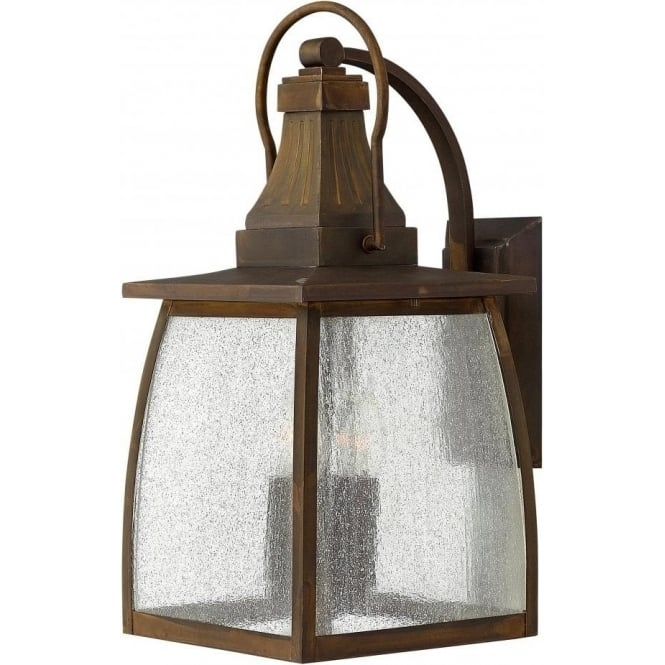 Large Outdoor Garden Wall Lantern, Solid Brass With Rustic Finish Throughout Large Outdoor Wall Lanterns (View 2 of 15)