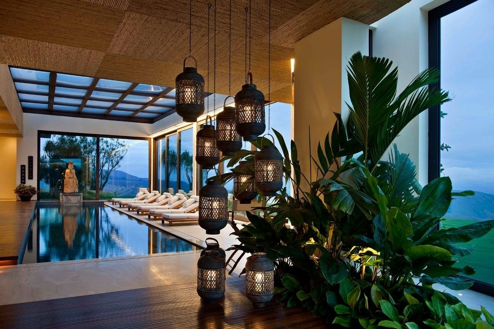 Large Outdoor Hanging Lantern With Tropical Pool Also Accent Ceiling Within Outdoor Tropical Lanterns (View 6 of 15)