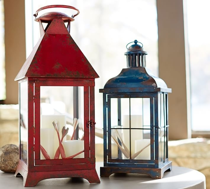 Large Patio Lanterns Palmetto Painted Lanterns Pottery Barn | Kibin Within Blue Outdoor Lanterns (View 4 of 15)