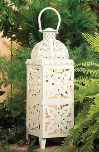 Inspiration about Large White 2 Feet Tall Candle Holder Outdoor Light Floor Lantern Xl For Xl Outdoor Lanterns (#2 of 15)