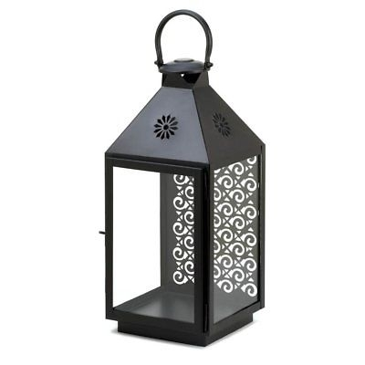 Large White Metal Square Glass Garden Candle Lantern Hanging Or With Outdoor Metal Lanterns For Candles (View 9 of 15)