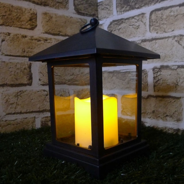 Led 4 Flameless Flickering Lantern Candles Outdoor Xmas Pillar With Outdoor Timer Lanterns (#10 of 15)